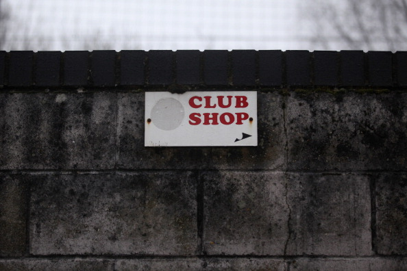 CRAWLEY, WEST SUSSEX - FEBRUARY 19:  The sign for the club shop in the Broadfield Stadium of non-league football club Crawley Town who are taking on Manchester United in the FA Cup fifth round on February 19, 2011 in Crawley, England. The team from West Sussex are hoping to make the history books by becoming the latest in a long line of FA cup giant killers.  (Photo by Oli Scarff/Getty Images)