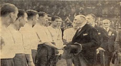 President Douglas Hyde meets the teams at Dalymount Park when Ireland faced Poland in 1938