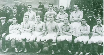Ireland v Wales during 1914 British Home Championship Back(l-r): Val Harris, Fred McKee, Davy Rollo, Patrick O'Connoll Front(l-r): EH Seymour, Sam Young, Billy Gillespie, Alex Craig, Bill Lacey, Louis Bookman, Bill McConnell Pic: Wikipedia