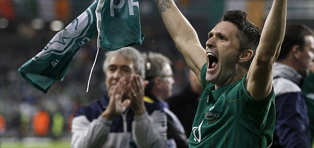 Ireland's Robbie Keane celebrates after qualifying against  Estonia during their Euro 2012 playoff soccer match in Dublin