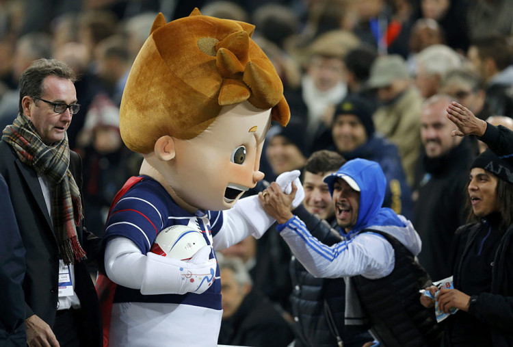 The official Mascot for the upcoming Euro 2016 soccer championship is cheered by fans during the international friendly soccer match between France and Sweden at the Velodrome stadium in Marseille