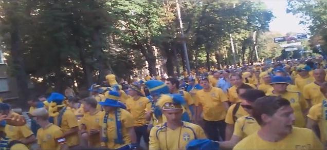 swedish fans march